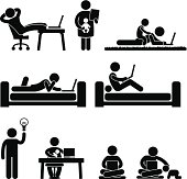 Work From Home Office Pictogram