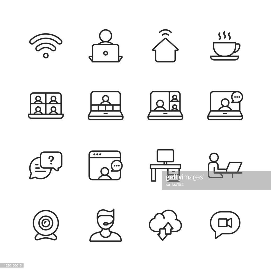 自宅、リモート作業ラインアイコンから作業します。編集可能なストローク。ピクセルパーフェクト。モバイルとウェブ用。WiFi、コーヒー、ビデオチャット、ビデオ会議、ビジネスミーティ : ストックイラストレーション