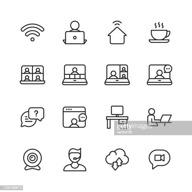 work from home, remote work line icons. editable stroke. pixel perfect. for mobile and web. contains such icons as wifi, coffee, video chat, video conference, business meeting, online messaging, video call, office desk, camera, support, cloud computing. - wireless technology stock illustrations
