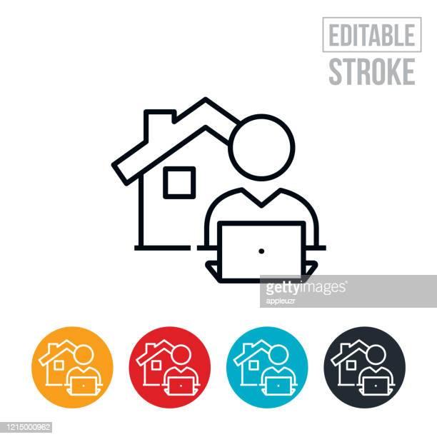 ilustraciones, imágenes clip art, dibujos animados e iconos de stock de icono de la línea delgada del trabajo de la casa - trazo editable - cuarentena