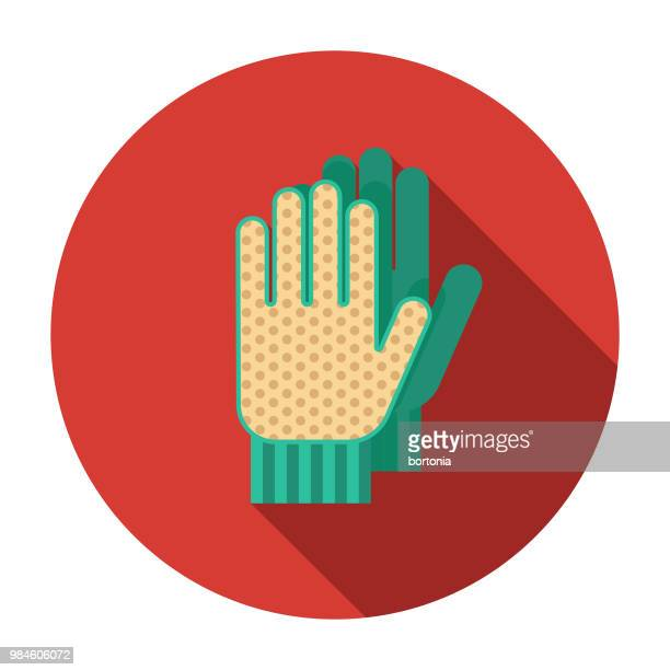 work gloves flat design agriculture icon - gardening glove stock illustrations, clip art, cartoons, & icons