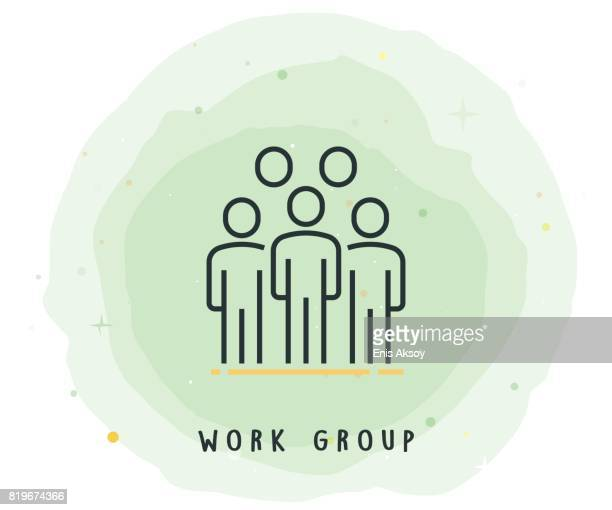 Work Group Icon with Watercolor Patch