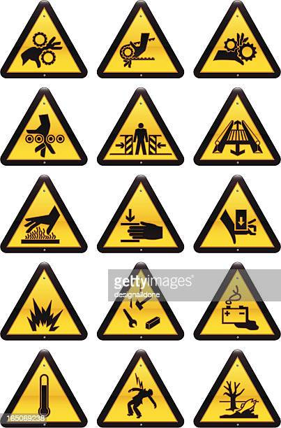 work hazard signs - occupational safety and health stock illustrations, clip art, cartoons, & icons