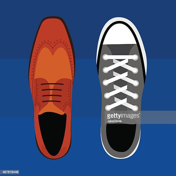 stockillustraties, clipart, cartoons en iconen met work life social life shoes - nette schoen
