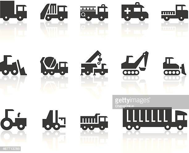 work machine icons | simple black series - fire engine stock illustrations, clip art, cartoons, & icons