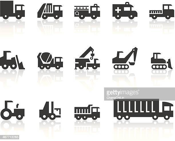 ilustrações de stock, clip art, desenhos animados e ícones de máquina de trabalho de ícones/série preto simples - carro de bombeiro