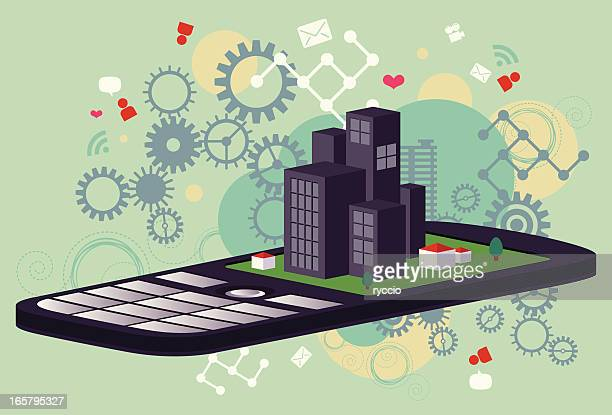 作業の携帯電話 - ソフトウェアアップデート点のイラスト素材/クリップアート素材/マンガ素材/アイコン素材