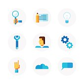 Work process and productivity icon set.
