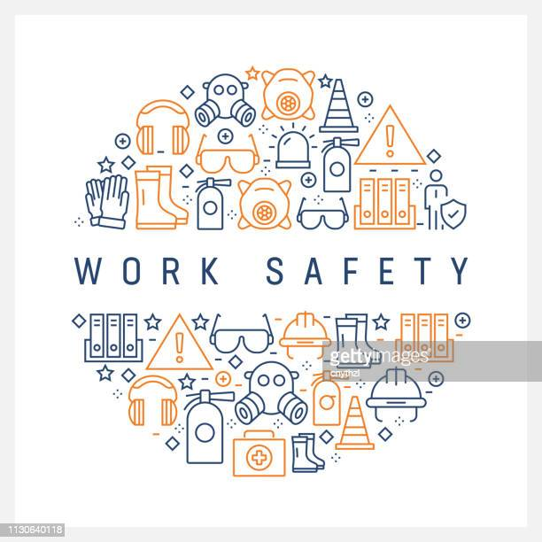 illustrazioni stock, clip art, cartoni animati e icone di tendenza di work safety concept - colorful line icons, arranged in circle - sicurezza
