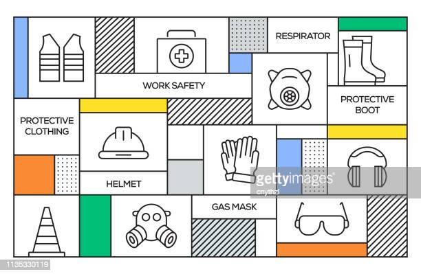 work safety concept. geometric retro style banner and poster concept with work safety line icons - occupational safety and health stock illustrations, clip art, cartoons, & icons