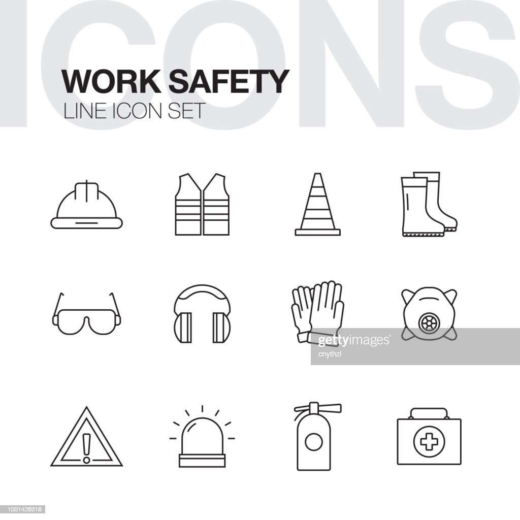 Arbeit Sicherheit Konzept Linie Symbole : Stock-Illustration