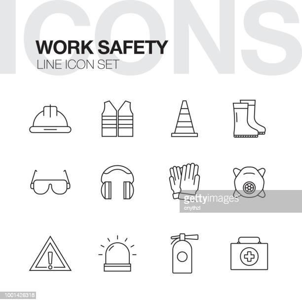 arbeit sicherheit konzept linie symbole - schutzbrille stock-grafiken, -clipart, -cartoons und -symbole