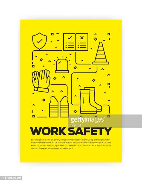 work safety concept line style cover design for annual report, flyer, brochure. - safe security equipment stock illustrations