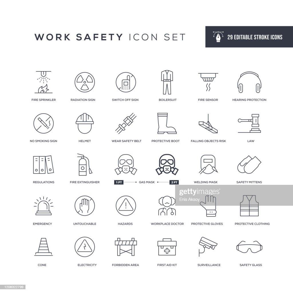 Work Safety Editable Stroke Line Icons : stock illustration