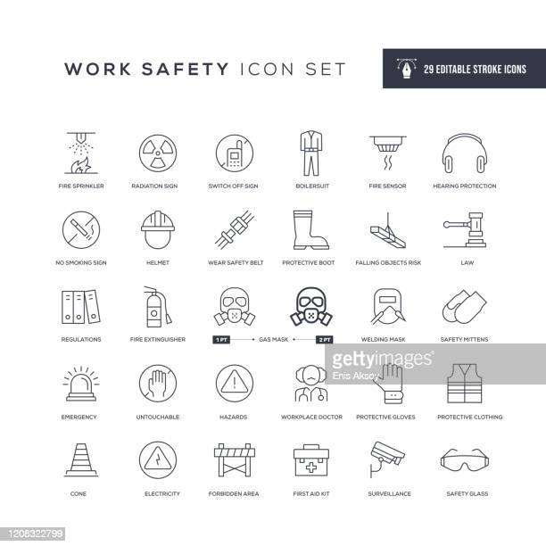 work safety editable stroke line icons - emergencies and disasters stock illustrations