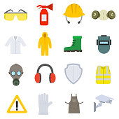 work safety icon set in flat style.