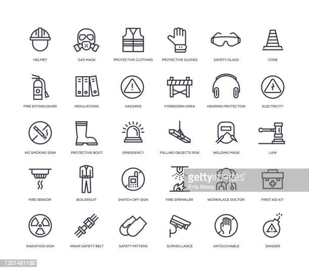 work safety icon set - radioactive contamination stock illustrations