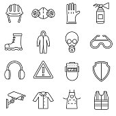 work safety icons set.