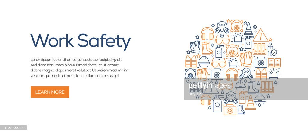 Work Safety Related Banner Template with Line Icons. Modern vector illustration for Advertisement, Header, Website. : stock illustration
