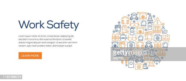 work safety related banner template with line icons. modern vector illustration for advertisement, header, website. - place of work stock illustrations, clip art, cartoons, & icons