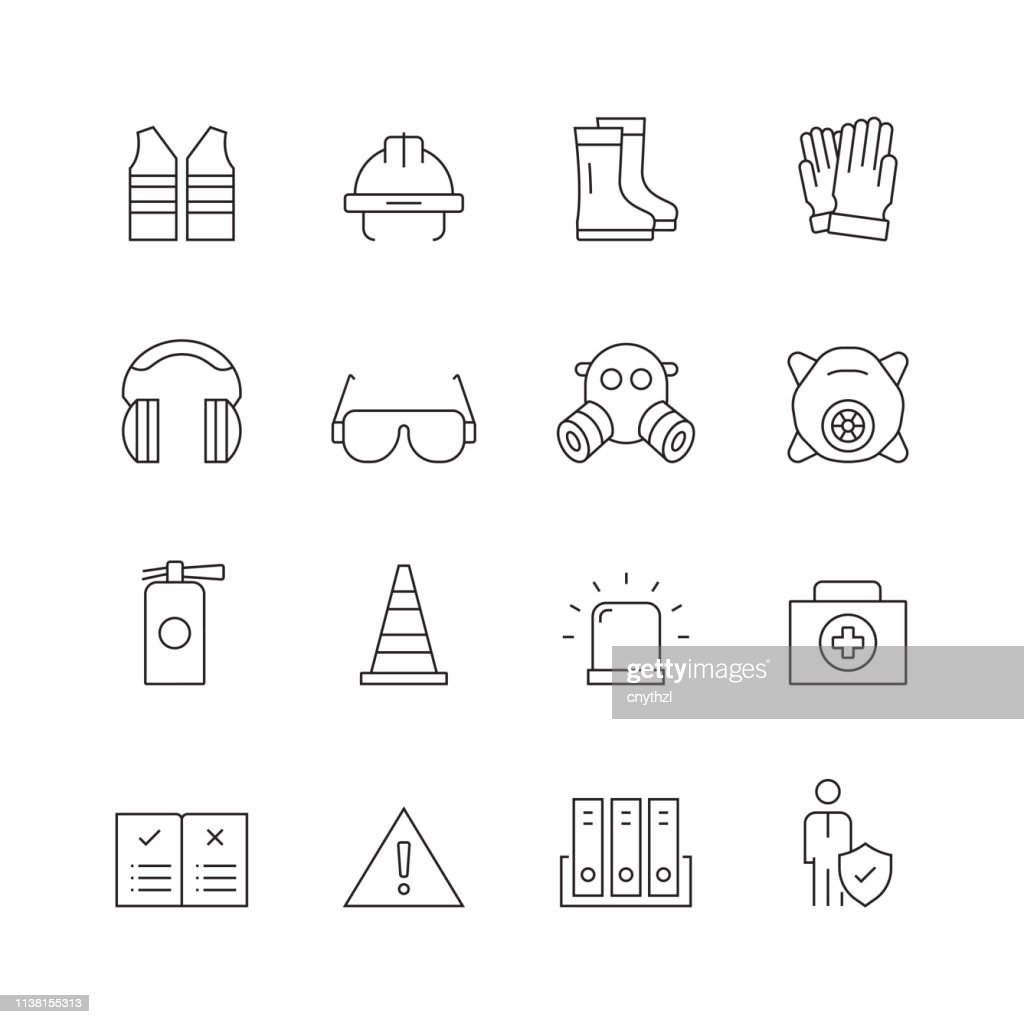 Work Safety - Set of Thin Line Vector Icons : stock illustration