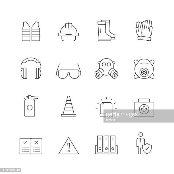 work safety - set of thin line vector icons - occupational safety and health stock illustrations, clip art, cartoons, & icons