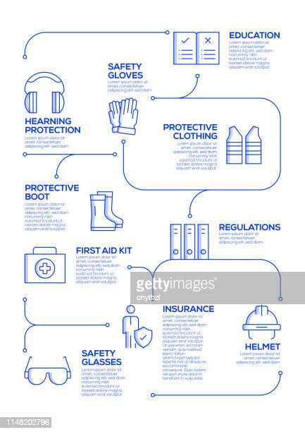 work safety vector concept and infographic design elements in linear style - occupational safety and health stock illustrations, clip art, cartoons, & icons