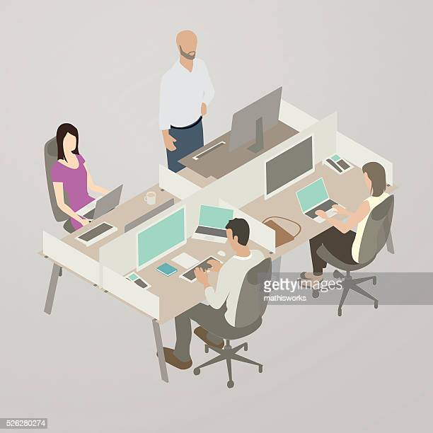 work team, flat style illustration - place of work stock illustrations, clip art, cartoons, & icons