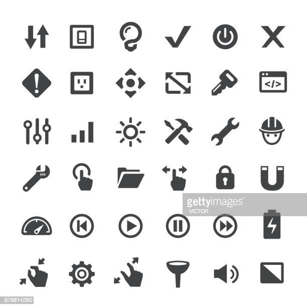 work tool icons - big series - start button stock illustrations, clip art, cartoons, & icons