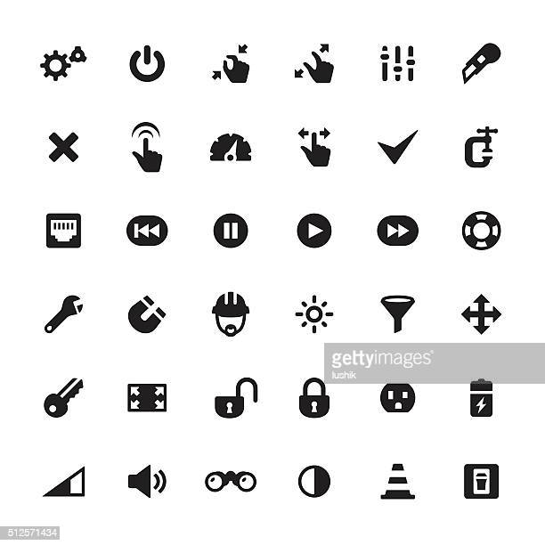 work tool vector icons - start button stock illustrations, clip art, cartoons, & icons