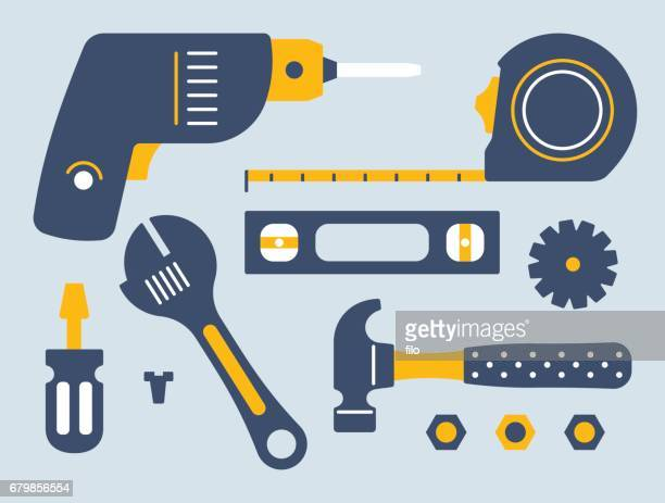 work tools and equipment - carpentry stock illustrations