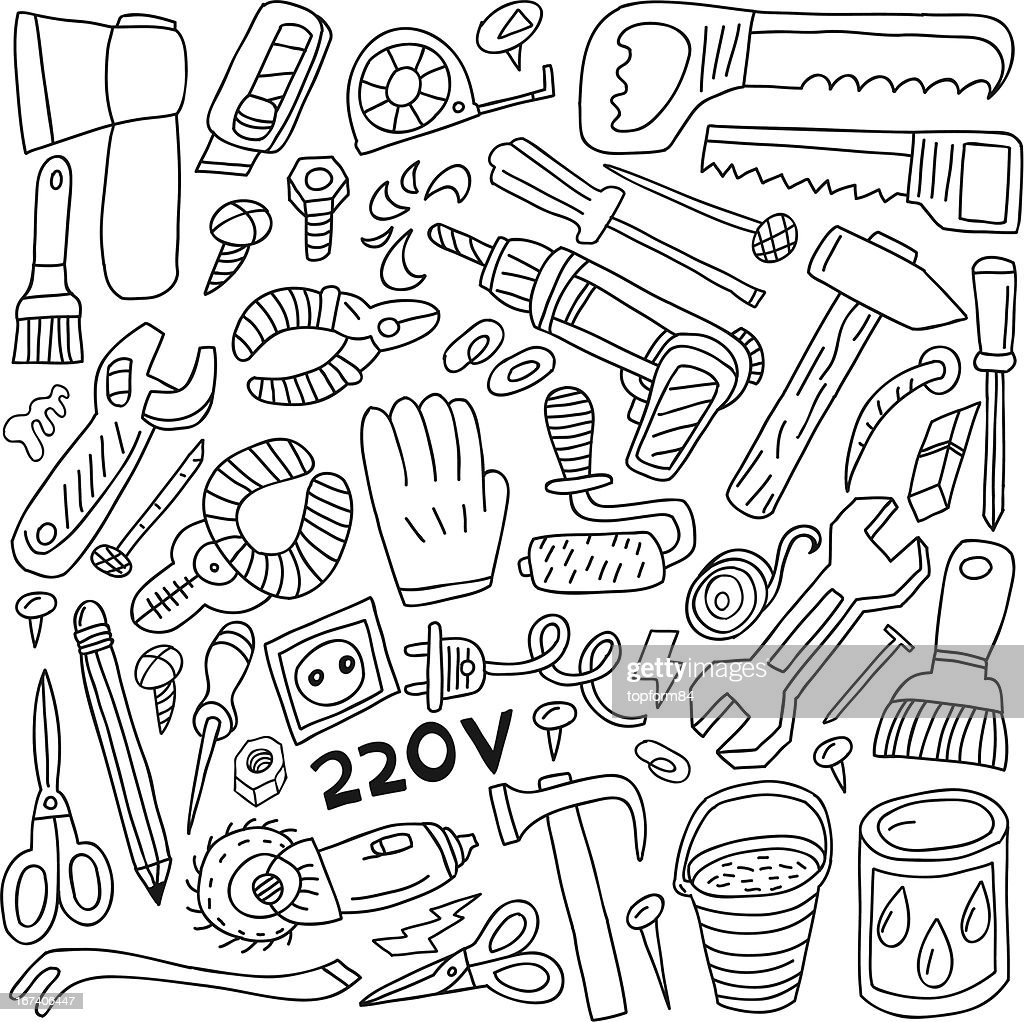 work tools - doodles : Vector Art