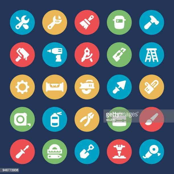 ilustraciones, imágenes clip art, dibujos animados e iconos de stock de iconos de herramientas de trabajo - soldar
