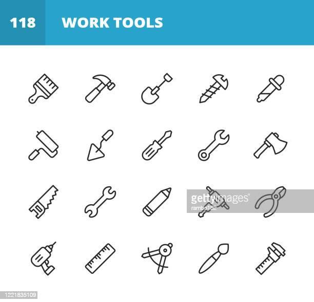 ワーク ツール ライン アイコン。編集可能なストローク。ピクセルパーフェクト。モバイルとウェブ用。レンチ、のこぎり、ワークツール、スクリュードライバー、スクリュー、ペイントブ� - ものさし点のイラスト素材/クリップアート素材/マンガ素材/アイコン素材