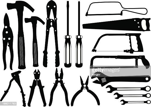 work tools silhouette - serrated stock illustrations, clip art, cartoons, & icons