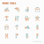 Work tools thin line icons set: puncher, drill, wrench, plane, toolbox, wheelbarrow, saw, pliers, sawing machine. Modern vector illustration of building equipment.