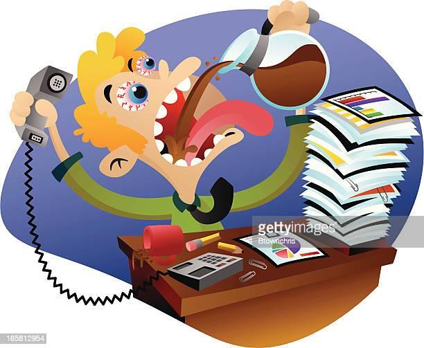 illustrations, cliparts, dessins animés et icônes de de travail - crouler sous le travail