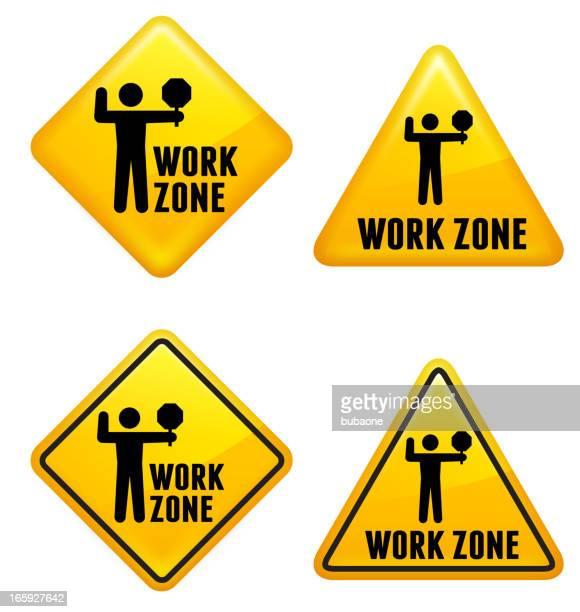 work zone street sign - traffic cop stock illustrations