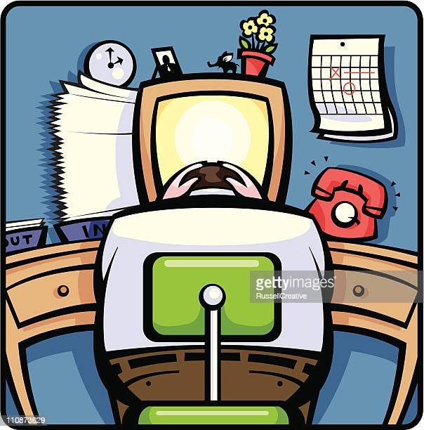 workday angst - office chair stock illustrations, clip art, cartoons, & icons