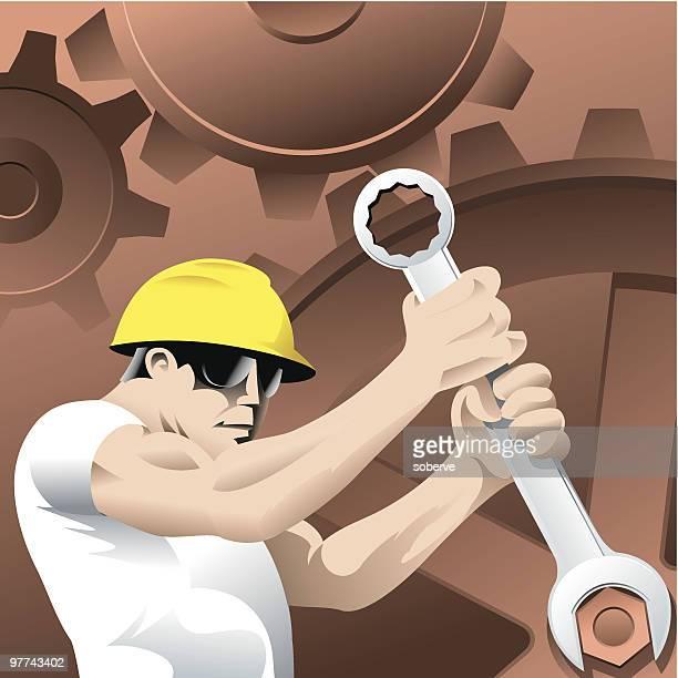 worker and cogwheels