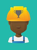 Worker avatar with  an award cup
