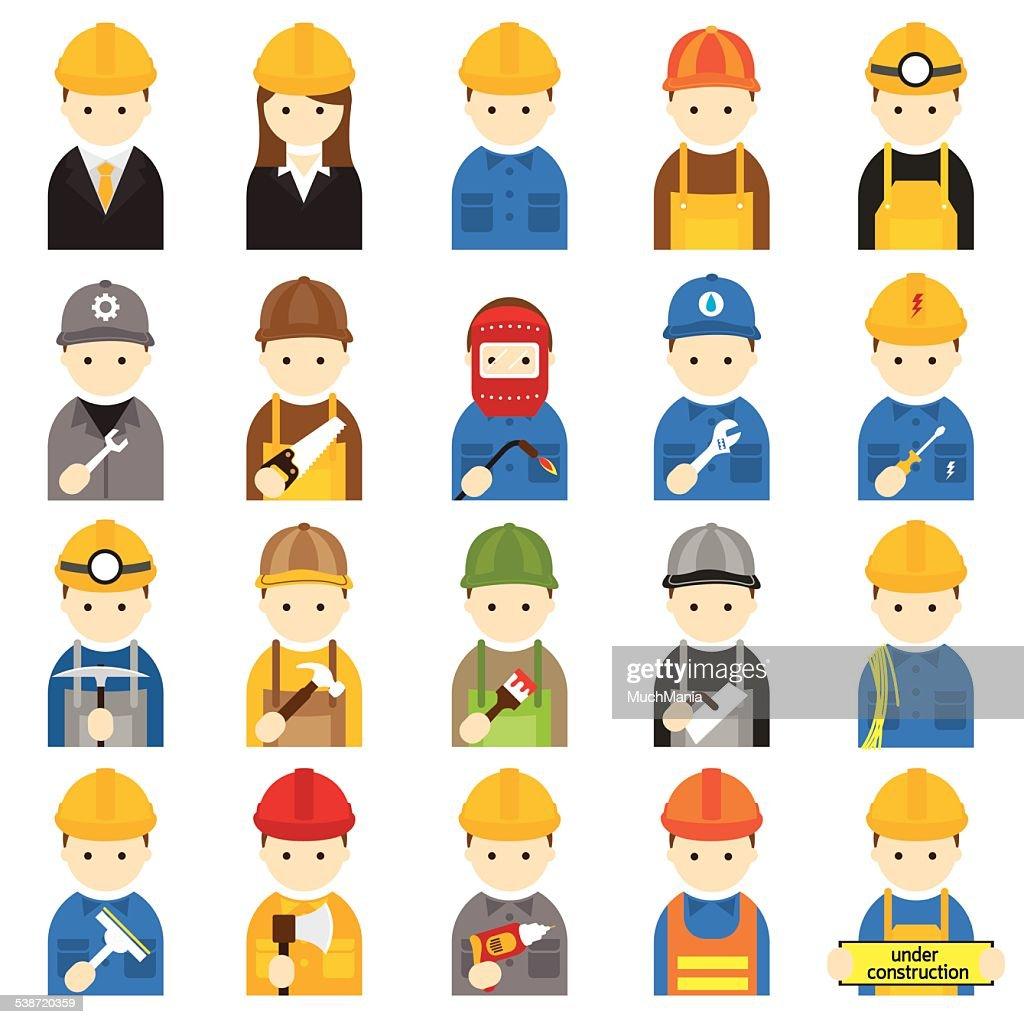 Worker, Craftsman, Symbol Icons Set