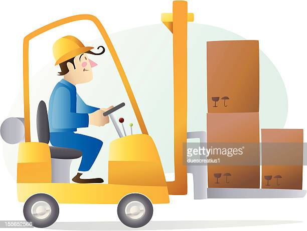 worker driving a forklift - occupational safety and health stock illustrations, clip art, cartoons, & icons