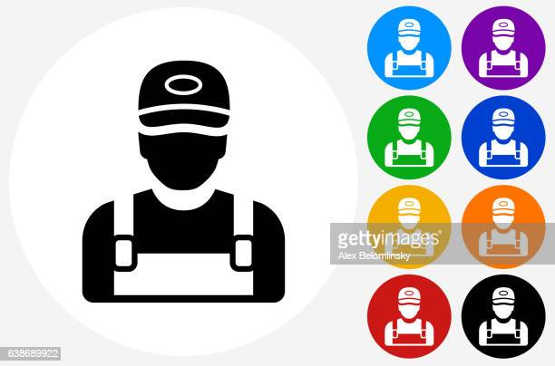 Worker Icon on Flat Color Circle Buttons