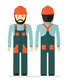 Worker in protectiv overalls