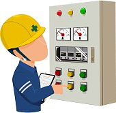 worker is operating control panel