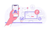 Worker is surfing photos on his phone on social media while seated at his desk behind his computer, procrastinating for as long as possible before getting back to work. Procrastination and laziness concept. Vector illustration.