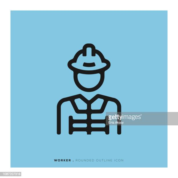 worker rounded line icon - occupational safety and health stock illustrations, clip art, cartoons, & icons