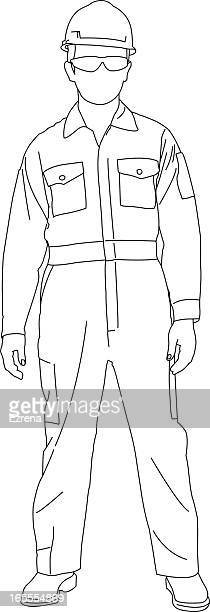 worker standing - protective workwear stock illustrations, clip art, cartoons, & icons