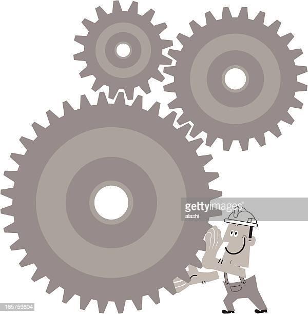 Worker Turn The Gears